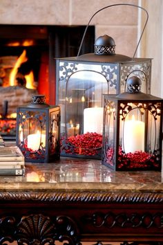 Christmas lanterns w/candles. All things bright and beautiful....