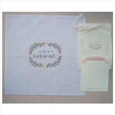 Will you be my bridesmaid handkerchief by The Polka Dotted Bee