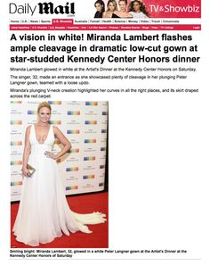 Amazing article about #MirandaLambert in Peter Langner at Kennedy Center Honor Gala. Thank You #DailyMail !