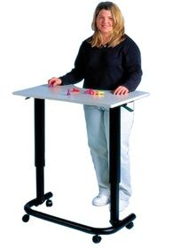 Spring Assist Hand Therapy Table adjusts in height with dual hand control levers