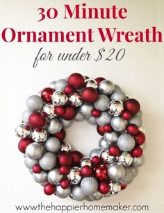 diy-ornament-wreath I Heart Nap Time | I Heart Nap Time - Easy recipes, DIY crafts, Homemaking