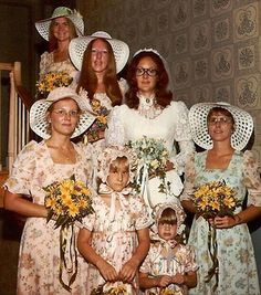 Nothing says bridesmaid like wallpaper dresses and dotted bonnets...
