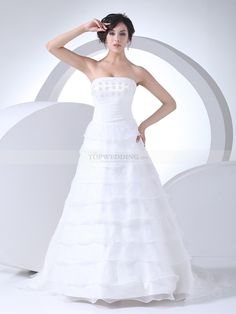 Tiered Strapless Organza Satin Wedding Gown with Delicate Flower