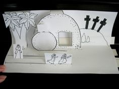 Pop-up book ideas for the triumphal entry, the empty tomb, and the road to Emmaus