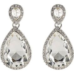 Kenneth Jay Lane Crystal Double-Drop Earrings ($59) ❤ liked on Polyvore featuring jewelry, earrings, brinco, silver, post earrings, kenneth jay lane, pave drop earrings, oversized earrings and crystal earrings