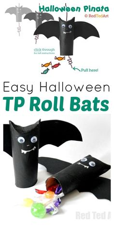 Halloween Craft: Easy Pinata / Goodie Bag. Super easy and fun TP Roll Bat. These Toilet Paper Roll Bats, can be used as treat bags or easy Mini Pinatas. So fun and cute! Love!