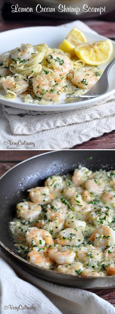 Lemon Cream Shrimp Scampi @veryculinary