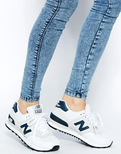 Image 4 of New Balance White Suede and Canvas 574 Sneakers