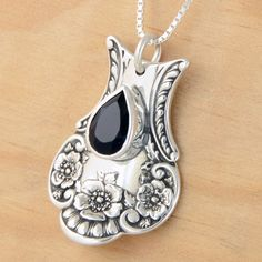 Spoon Pendant with Black Spinel - Handmade Upcycled Sterling Silver. metalsmitten etsy. $95.00