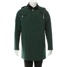 Pre-owned Mackintosh Hooded Trench Coat ($365) ❤ liked on Polyvore featuring men's fashion, men's clothing, men's outerwear, men's coats, green, mens trench coat, mens coats, mens green trench coat and mens trenchcoat