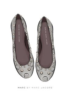 Fallen for the charm of these studded mouse ballet pumps by Marc Jacobs...thought they deserved a little illustration <3  Sally Cotterill © 2013 www.sallycotterill.co.uk