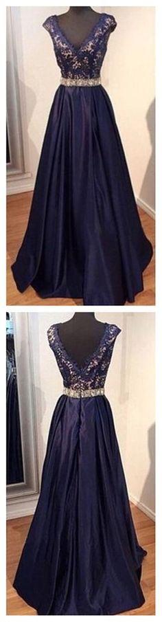 A-line Prom Dresses,V-Neck Prom Dresses,Elegant Prom Dresses,Formal Pr – SofieBridal