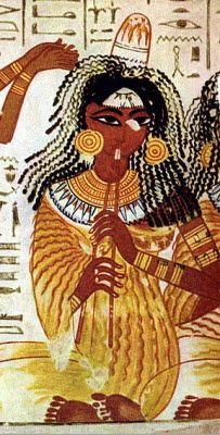 Ancient Egyptian Painting of a Woman Playing a Music Instrument.Murals from the tomb of Nebamun, British Museum, London.