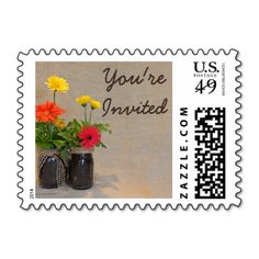 Mason Jar Daisy Country Rustic Nature Invited Stamps