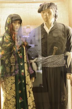 Traditional Kurdish festive clothing from the Erbil plain.  Ca. 1975-2000.  (Kurdish Textiles Museum, Erbil, northern Iraq).
