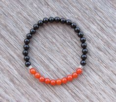 Genuine Carnelian and Black Onyx Bracelet  Boho by BBTresors