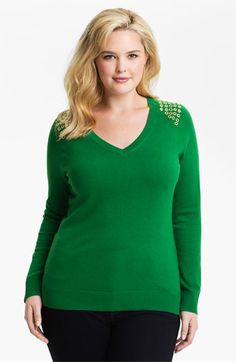 MICHAEL Michael Kors Grommet Detail Sweater (Plus) available at Nordstrom. I love the rich emerald green colour.  Available up to size 3X.