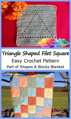 Triangle Shape Filet Square Crochet Pattern available on Ravelry as an ad free pdf. This easy crochet pattern features lines by line instructions that are simple to follow with a photo tutorial and a stitch diagram. This fun solid filet square crochet design has triangle shaped eyelets and makes a 7 inch square perfect for baby blankets and afghans, dishcloths, coasters, and more. Get your copy now! #SquareCrochetPattern #SolidFiletCrochetPattern #SimpleCrochetPattern Quick Crochet Patterns, Crochet Patterns For Beginners, Crochet Designs, Free Crochet, Crochet Afghans, Crochet Blankets, Beginner Crochet, Crochet Gifts, Baby Blankets