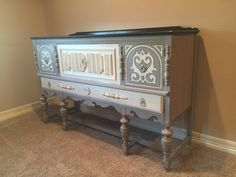 Antique buffet with Annie Sloan Old Ochre and Coco chalk paint. Top stained with CeCe Caldwell kukui stain.