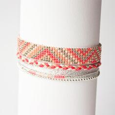 Bracelet tissé perles miyuki / manchette été / Argent, rose, nude et corail / : Bracelet par tadaam-bijoux