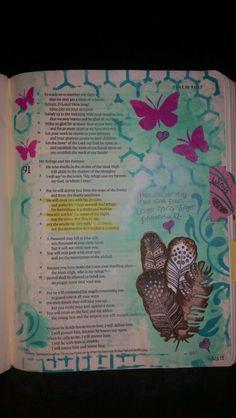 Psalm 91:4-6 ❤ #biblejournaling #illustratedfaith #bibleartjournal #bibleartjournaling #faith #bible