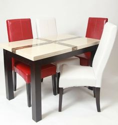 5 Piece Artificial Light Oak Marble Dining Set , Table with 4 Chairs