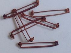 6 vintage copper pins by Hehebeads on Etsy