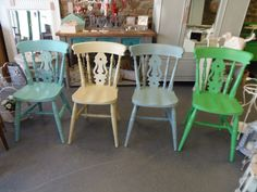 Farmhouse Chairs painted in Annie Sloan Provence, Versailles, Duck Egg Blue & Antibes Green.