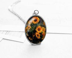 Monet, Flower, Sunflower, Pendant Necklace, N317