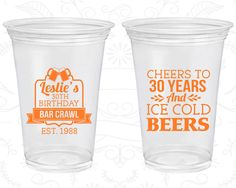 30th Birthday Soft Sided Cups, Cheers to 30 years, Ice Cold Beers, Disposable Birthday Cups (20218)
