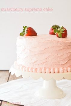 This strawberry cake has a tender crumb and a subtle, shortcake-like flavor, The buttery, flour-based vanilla frosting complements the berries nicely. Strawberry Cakes, Strawberry Recipes, Strawberry Fields, Baking Recipes, Dessert Recipes, Desserts, Cupcake Recipes, Lemon Sugar, Vanilla Frosting