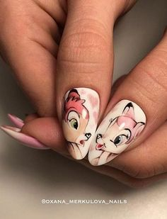 Make an original manicure for Valentine's Day - My Nails Disney Acrylic Nails, Cute Acrylic Nails, Fun Nails, Valentine's Day Nail Designs, Cute Nail Art Designs, White Nail Designs, Animal Nail Designs, Nail Swag, Animal Nail Art