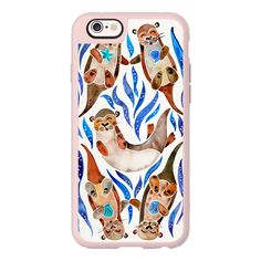 Fiver Otters - Blue Palette - iPhone 7 Case, iPhone 7 Plus Case,... ($40) ❤ liked on Polyvore featuring accessories, tech accessories, iphone case, iphone cover case, blue iphone case, iphone hard case, apple iphone cases and iphone cases