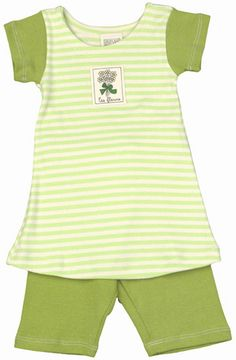 "Striped dress/capri set in lime green/natural is made with organic rib material. ""Les Fleurs"" patch on top. Sizes 3/6 mos. and 9/12 mos."