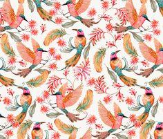 Vögel. Rote und Orange Federn. Design von mister-moon auf Spoonflower.com | Dein Design auf Stoff, Tapete und Geschenkpapier
