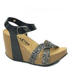 246127e4114f LIGNE I - Chaussures Plakton · Sandales Plakton I Fine Glitter Noir et Or  et Cuir Noir