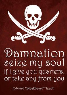 SALE Print - Pirate Art Print Poster - Damnation - Blackbeard Quote - Wall Decor, Inspirational Print, Home Decor, Gift, Pirate Decor, Pirate Art, Pirate Life, Pirate Signs, Quote Prints, Poster Prints, Art Prints, Pirate Quotes, Pirate History