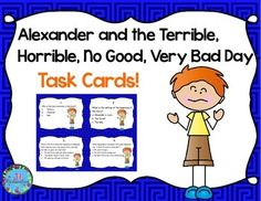 This task card activity is a great Literacy Center to use after the children have read Alexander and the Terrible, Horrible, No Good, Very Bad Day by Judith Viorst!The children can record their responses on the printable or in a reading response notebook.Included:16 Comprehension Task Cards1 Answer Sheet1 Teacher's edition answer sheet.