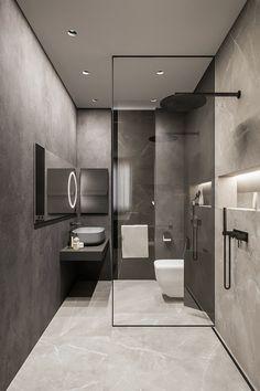 Brit Apartment on Behance Washroom Design, Bathroom Design Luxury, Modern Bathroom Design, Home Interior Design, Minimal Bathroom, Modern Bathrooms, Rustic Bathrooms, Interior Plants, Contemporary Bathroom Designs