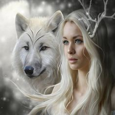 Картинки по запросу The girl and the wolf. picture