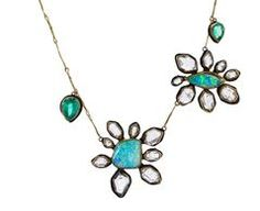 Boulder Opal and Herkimer Diamond Flower Necklace with Emeralds