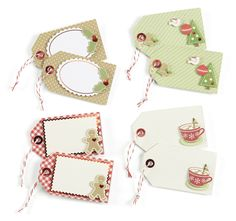 These tags by MS are easy to duplicate; adding die cut scalloped rectangles, ovals, etc. atop mini tag and some fussy cutting to create cute tag