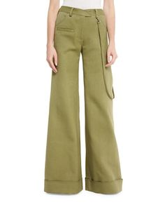 ROSIE ASSOULIN Wide-Leg Cuffed Stretch-Woven Pants, Army Green. #rosieassoulin #cloth #