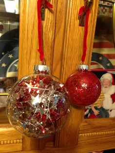 Christmas balls one is glitter inside using mop n glo and glitter DIY Christmas decorations