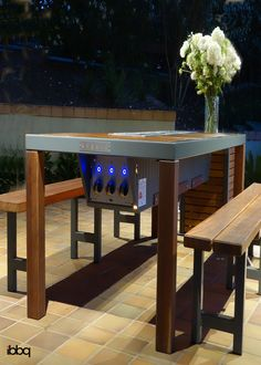 Angara is the ultimate modern outdoor dining table. With buit-in gas bbq grills & cool LED lights, the table is perfect for all your outdoor entertaining. Dinning Room Table Diy, Parrilla Exterior, Outdoor Dining, Outdoor Grill, Grill Table, Ideas Hogar, Fire Pit Table, Grill Design, Outdoor Kitchen Design