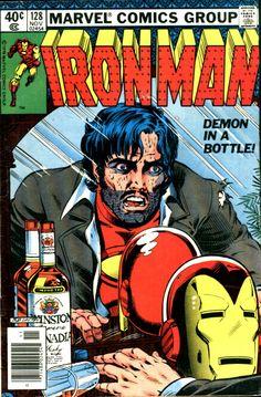 """Demon in a bottle!"" - Iron Man n°128, (November 1979), cover by Bob Layton"
