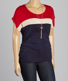 I LOVE RED WHITE AND BLUE REALLY Loving this Red & Black Stripe Ruched Tee & Necklace - Plus on #zulily! #zulilyfinds
