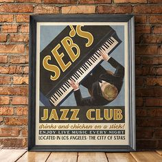 Dedicated to the ones who dream. This retro style poster was inspired by my love for La La Land, specifically the fruition of Sebs Jazz Club. Only those who have watched La La Land will be able to appreciate your fandom, while outsiders will simply think you have a distinguished taste for vintage posters. Your poster will be printed on 100lb weight paper. The sizes offered (11x17, 18x24 and 24x36 inches) makes this artwork very easy to frame because most stores already stock poster frames…