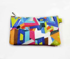 Abstract Geometric Print Purse  Pink cotton backing by LauraNadile