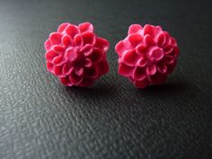 Dahlia Flower Polymer Clay Cabochon Earring by KristalsKreations20, $6.00
